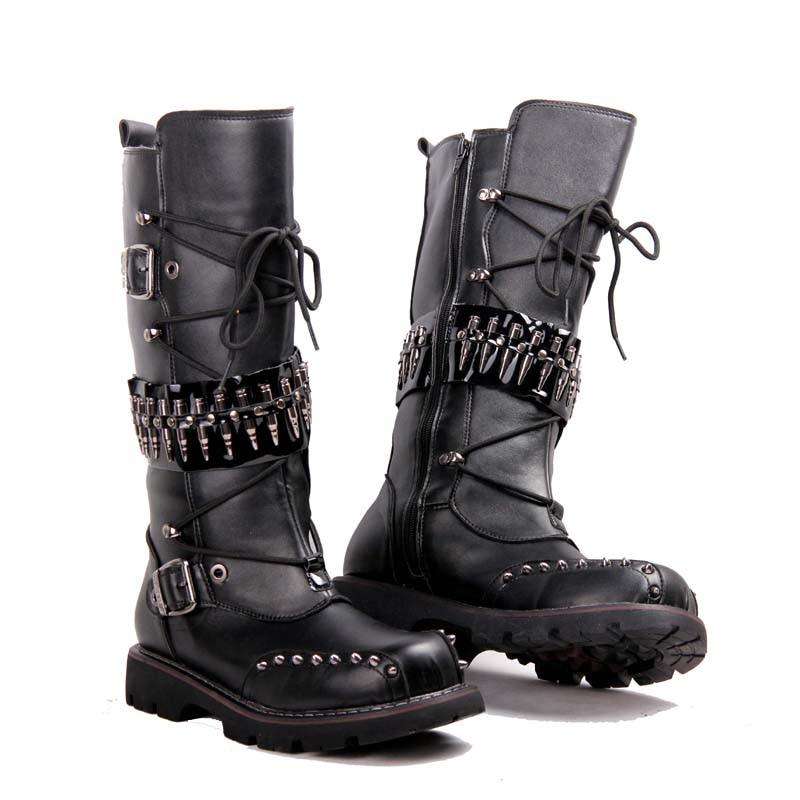 Botas altas hasta la rodilla punk 2017 para hombre botas militares de cuero  Natural de vaca para hombre Botas de nieve impermeables largas botas de ... 767e34cac09
