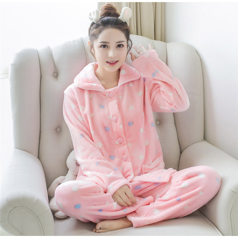 Women   Pajama     Sets   Flannel Long Sleeved Pant Suit Cartoon Animal O-Neck Warm Coral Velvet Women's Suit Winter Fashion Sleepwear
