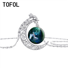 TOFOL Moon Time Necklace For Women Silver plated Hollow Round design Pendants Jewelry