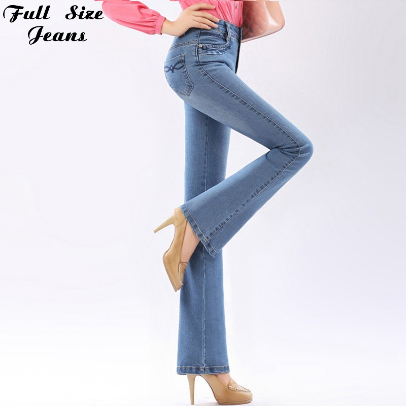 Autumn High Waist Flare Jeans Pants Pluss