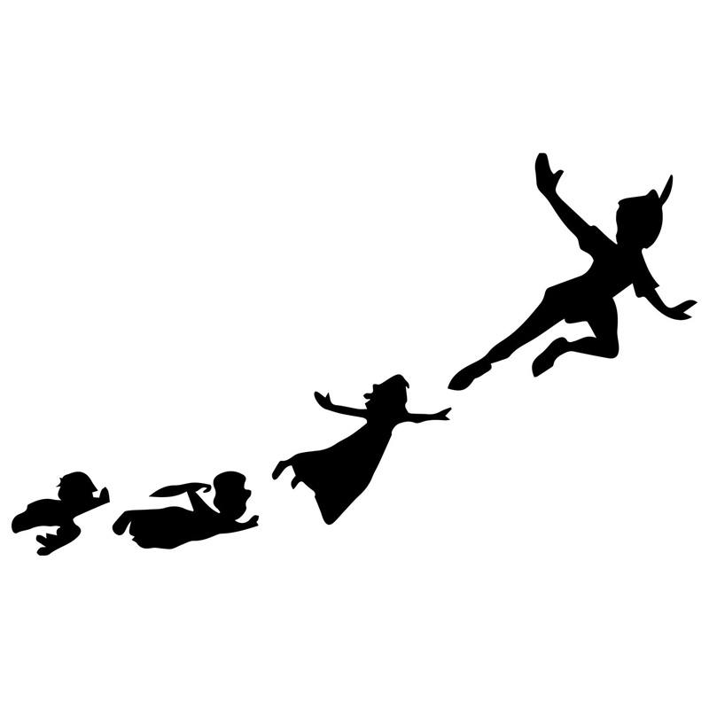 17.1cm*10cm Peter Pan & Gang Flying Fashion Car-Styling Stickers Decals Black/Silver S3-6584