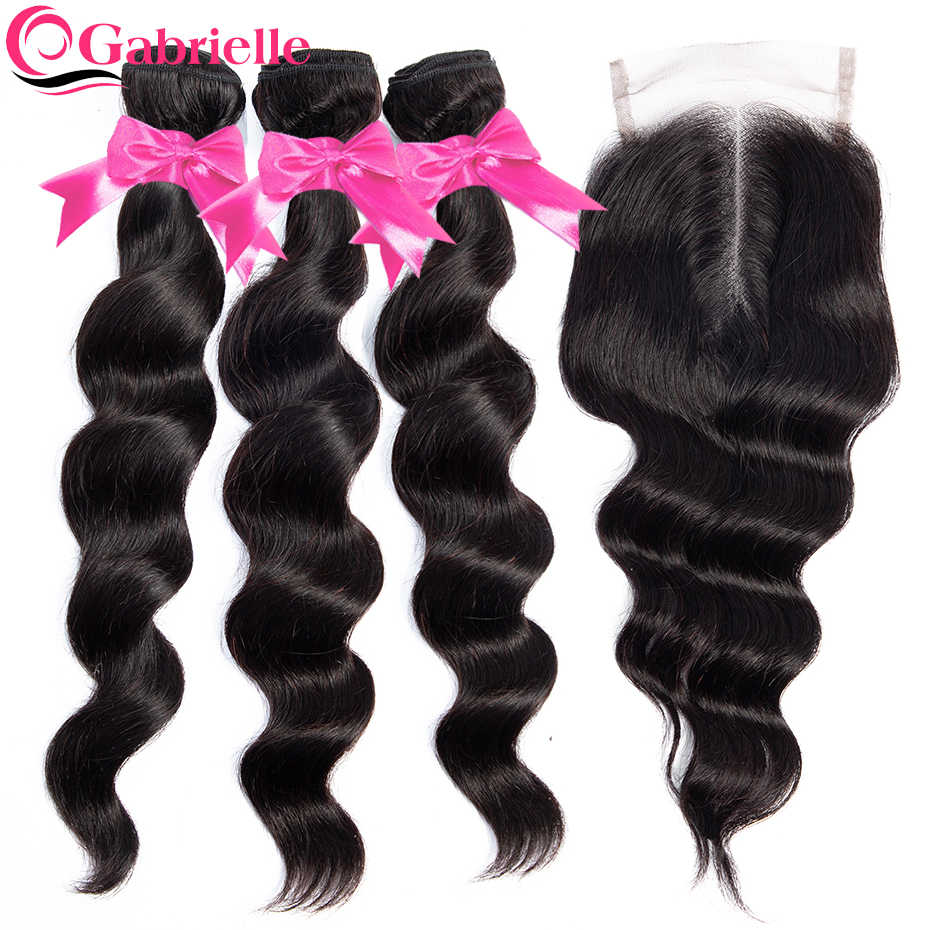 Gabrielle Brazilian Human Hair Loose Wave Bundles with Closure Non-remy Hair Weave Bundles with Closure Natural Color Free Ship