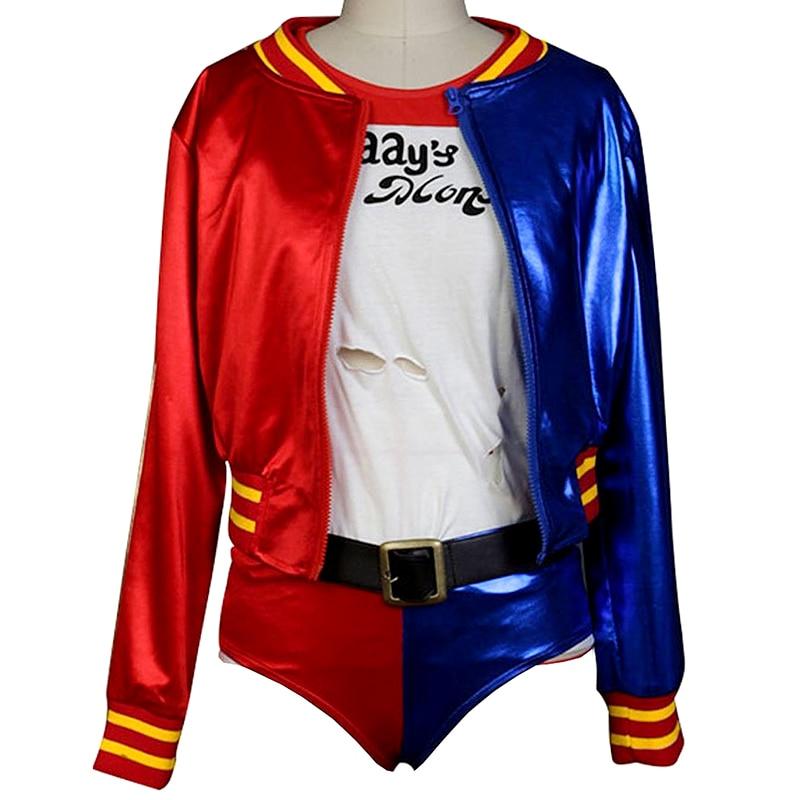 Harley Quinn Cosplay Costumes Jacket+T-shirt+Shorts+Glove+Belt Full Set Halloween Uniform for Woman