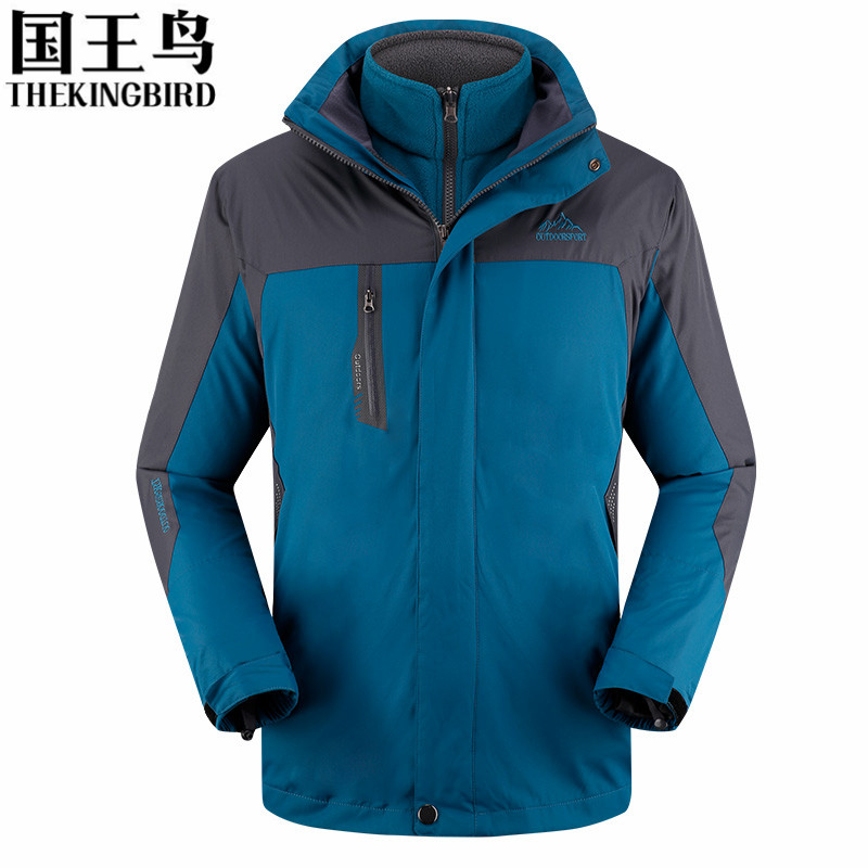 ФОТО Men's Winter Tech Fleece Softshell Jackets Outdoor Rain Coats 3 in 1 Two-piece Waterproof breathable thicker warm Hiking Jacket