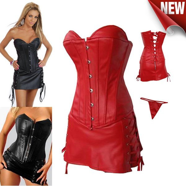 fea12631cf696 2016 Wholesale Black Red Faux Leather Corset Plus Size Overbust Strapless  Long Red Corset Dress Sexy