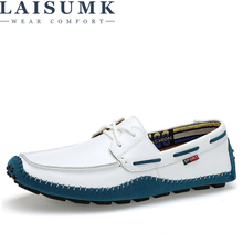 LAISUMK Italian Genuine Leather Man Loafers Designer Slip On Driving Shoes Men High Quality Luxury Brand Soft Flats Large Size