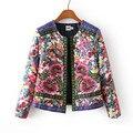 2016 New Autumn Winter Hit Color Retro National Wind Print Flowers Thin Cotton Coat Long Sleeve short Jacket Women LH154