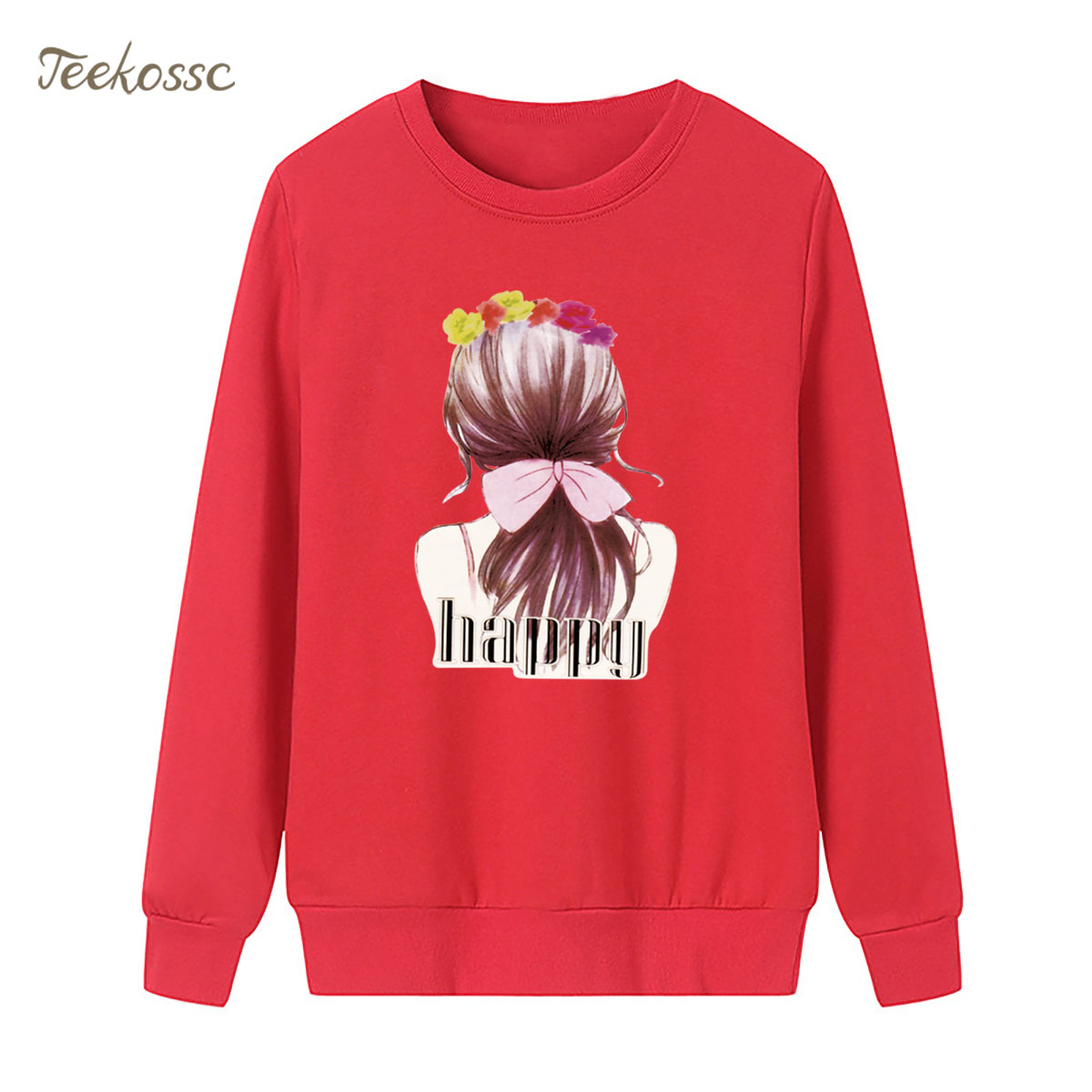 Beauty Back Happy Sweatshirt Red Casual Hoodie 2018 New Fashion Winter Autumn Women Lady Pullover Fleece Warm Loose Streetwear