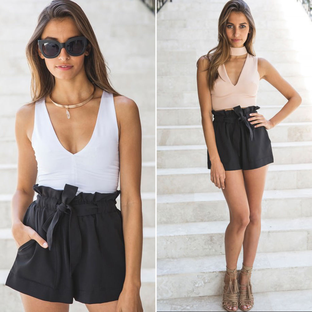 New Hot Fashion Lady's Summer Casual Shorts High Waist Short Lace Up Elastic Shorts Solid Color Baggy Shorts