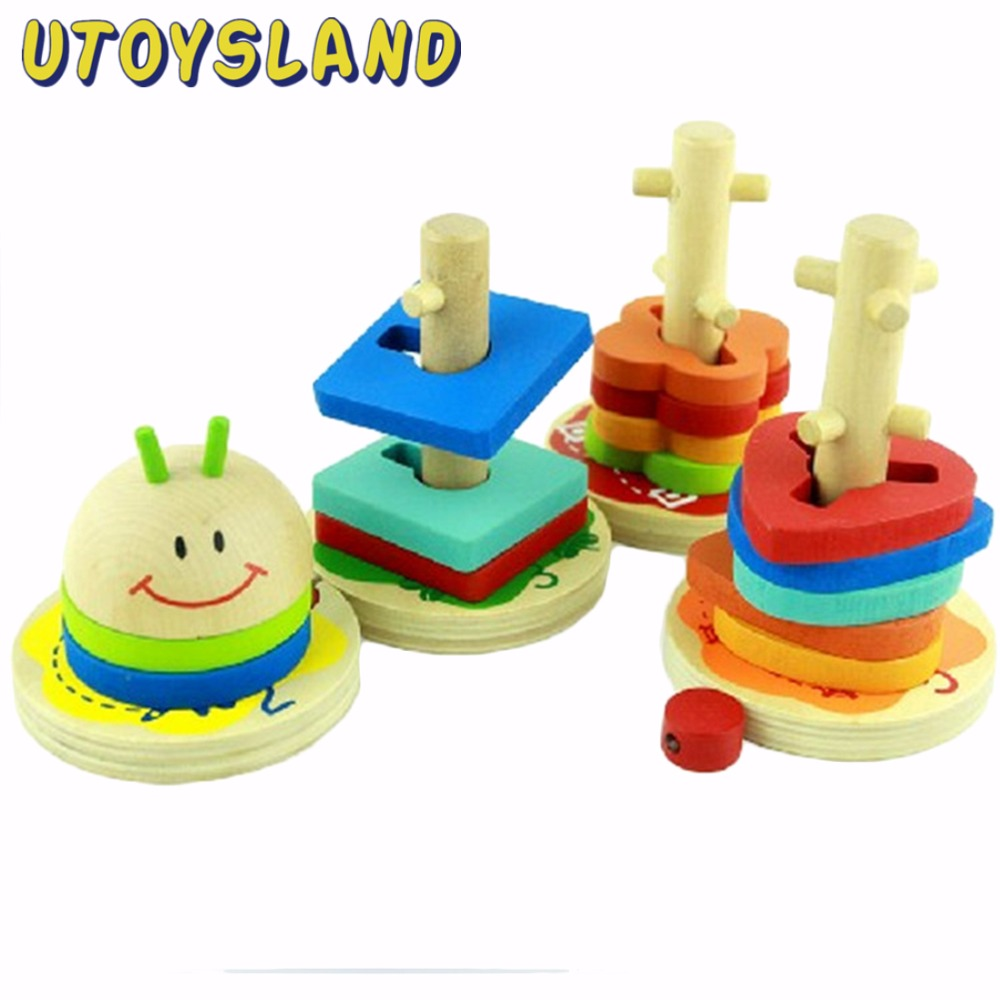 UTOYSLAND Caterpillar Geometric Shape Sorter Wooden Stacking with 4 Columns Building Blocks Educational Toy for Baby Children