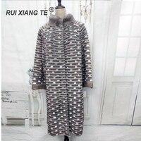 RuiXiangTe/женское меховое пальто из норки в полоску, сшитая куртка, теплая зимняя настоящая верхняя одежда из норки кролика Рекс, вязаное длинно