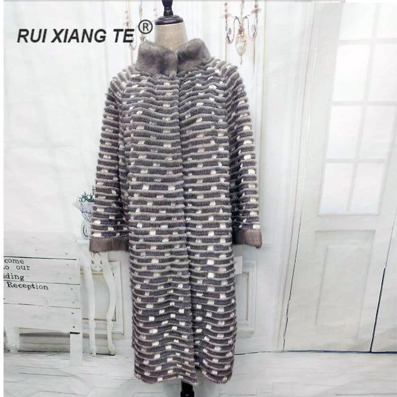 RuiXiangTe women real fur coat mink strip sewed jacket warm winter real mink outerwear rex rabbit knitting long coat
