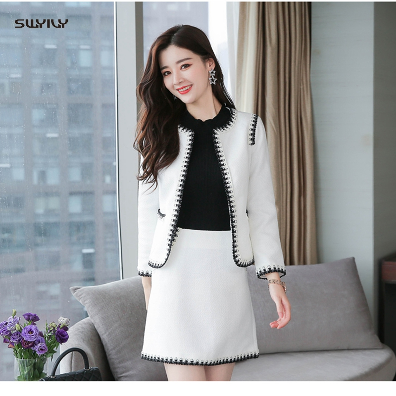 SWYIVY Womens Jacket Coat Skirt Suit Two Sets Winter Spring 2018 Elegant 2XL Plus Size Office Ladies OL Short Woolen Jacket Coat