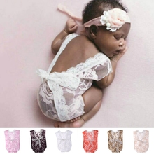 Newborn Baby Girls Lace Deep V Backless Romper Jumpsuits Photography Prop Outfit P101