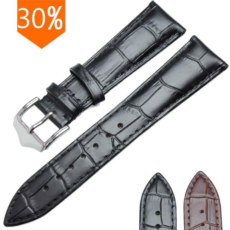 Alt ægte læder blødt holdbart urbånd ure armbånd 18mm 19mm 20mm 21mm 22mm 24mm armbånd stropp brun sort