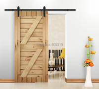 6ft Rustic Vintage Plate Sliding Barn Door Hardware Barn Door Track System Dark Coffee