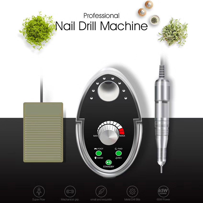 Cappucci 65 w Nail Drill Manicure Set 35000 rpm Macchina Per Manicure Pedicure Lime Unghie artistiche Smalto Frese e taglierine per micro SIM Per Manicure