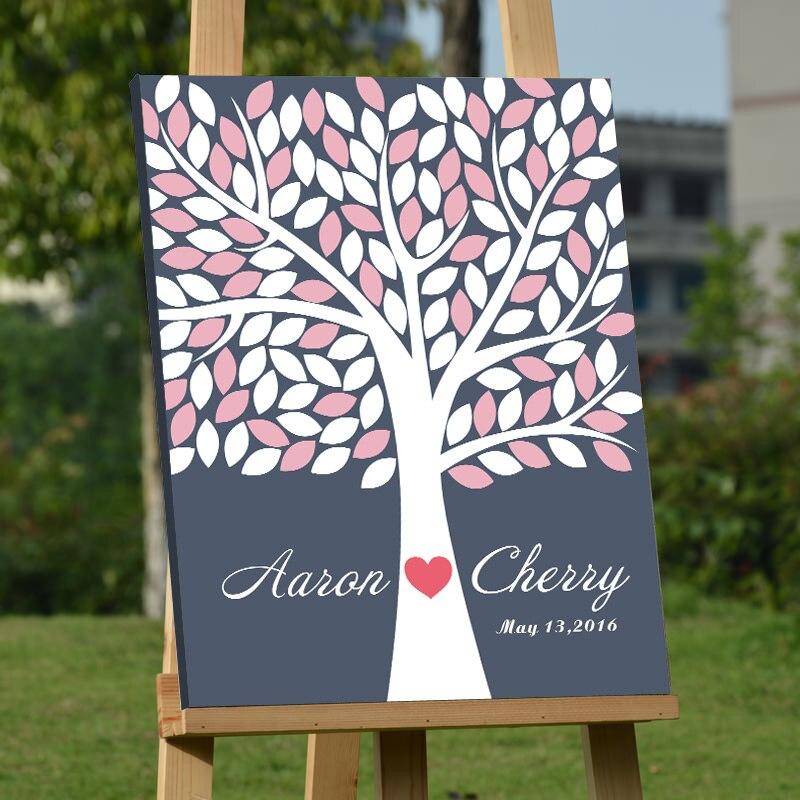 Přizpůsobené Svatební Fingerprint Tree DIY Podpis Guest Kniha Baby sprcha Narozeniny Kniha návštěv Album Party dekorace Casamento