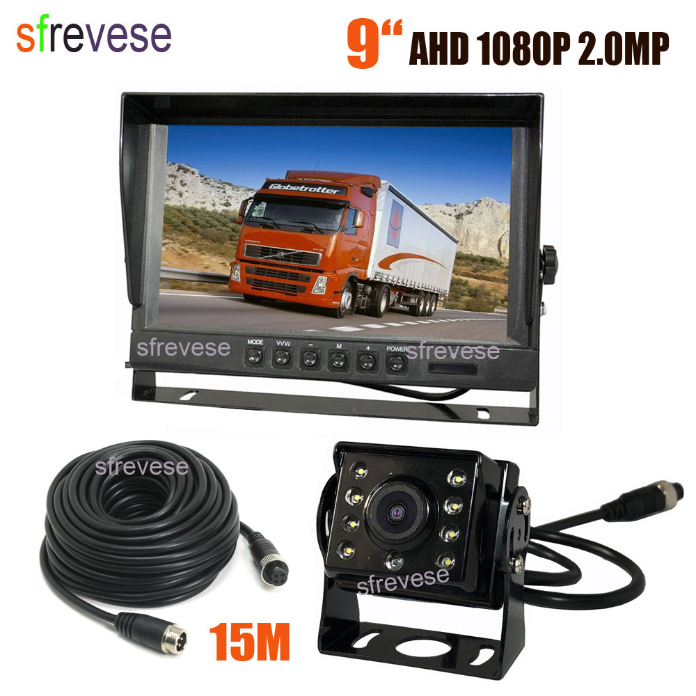 """9"""" IPS HD 4Pin 2CH Car Rear View Monitor + Waterproof AHD 1080P 175 degree Reversing Backup Camera For Bus Truck Kit 15M Cable