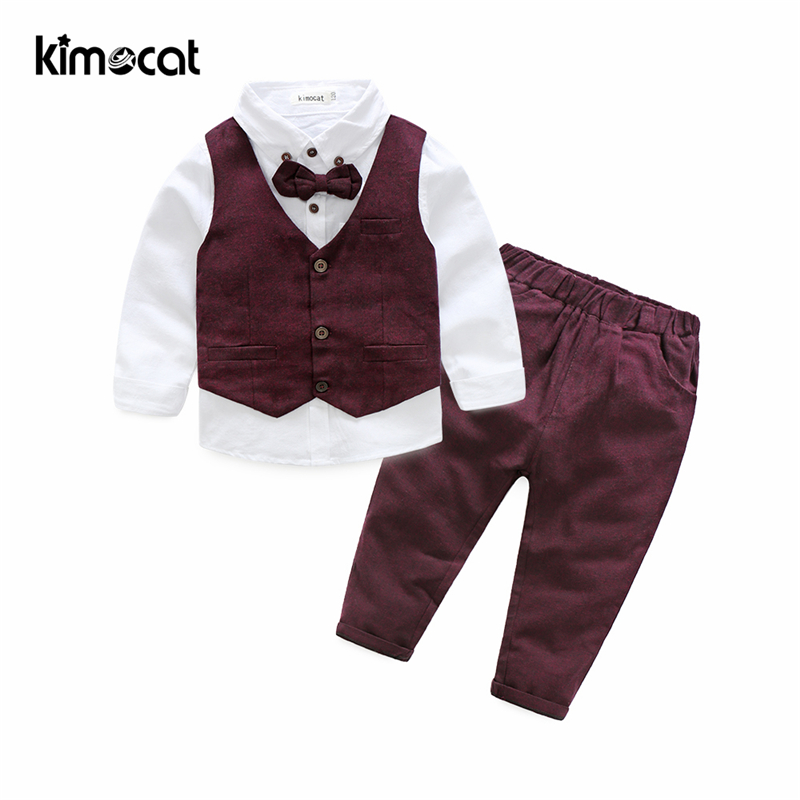 Kimocat Autumn Winter Boys Kids Sets Gentlemen Vest+Shirt+Pants Children's Cotton Clothes Baby Boy Clothing Long Sleeve Suit