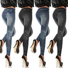 Women Casual Denim Skinny Ripped Pants High Waist Stretch Full Length Leggings Long Pencil Trousers