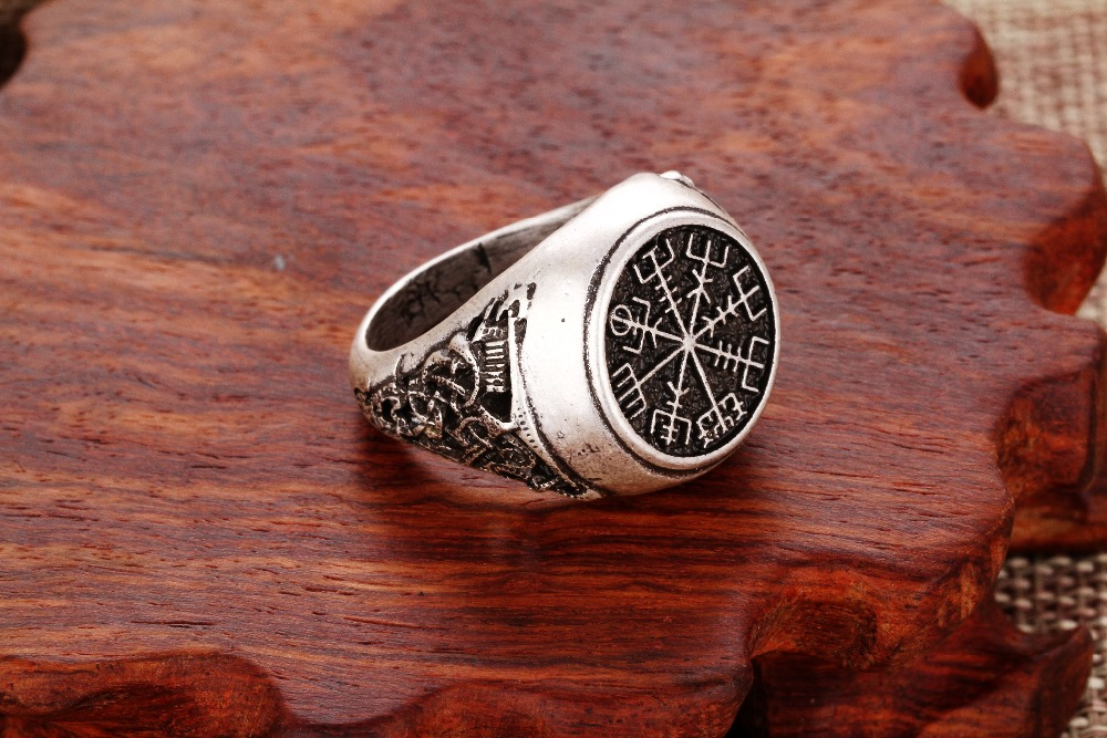 1pcs compass round pattern style viking ring mammen style runic compass scandinavian norse unisex fashion classic - Norse Wedding Rings
