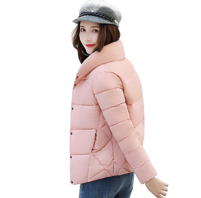 Stand Collar Breasted Buttons Winter   Jacket   Women Women's   Basic     Jackets   Outwear Short Female Coat Casaco Feminino Inverno LJ0840