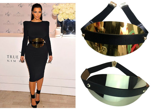 women gold & silver wide metal plate metallic mirror belt wide