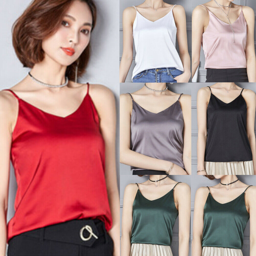 New Women Ladies Fashion Casual Summer   Tank     Top   Solid Satin Silk V Neck Camisole Vest   Tank     Top