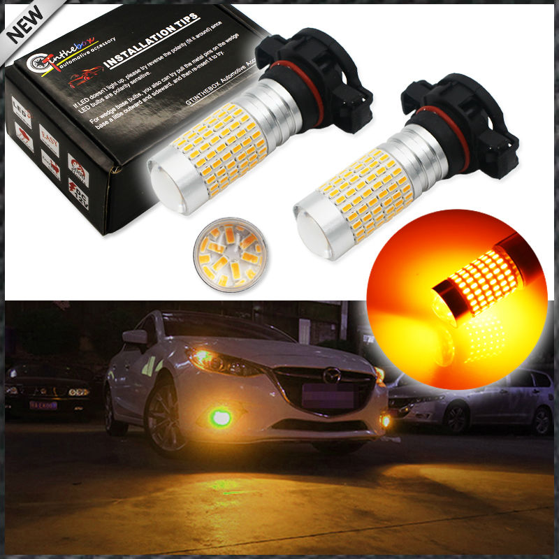 2pcs Amber Yellow 360-degree shine 144-SMD-3014 High Power 5202 H16 PSX24W LED Bulbs For Fog Lights or Daytime Running Lights