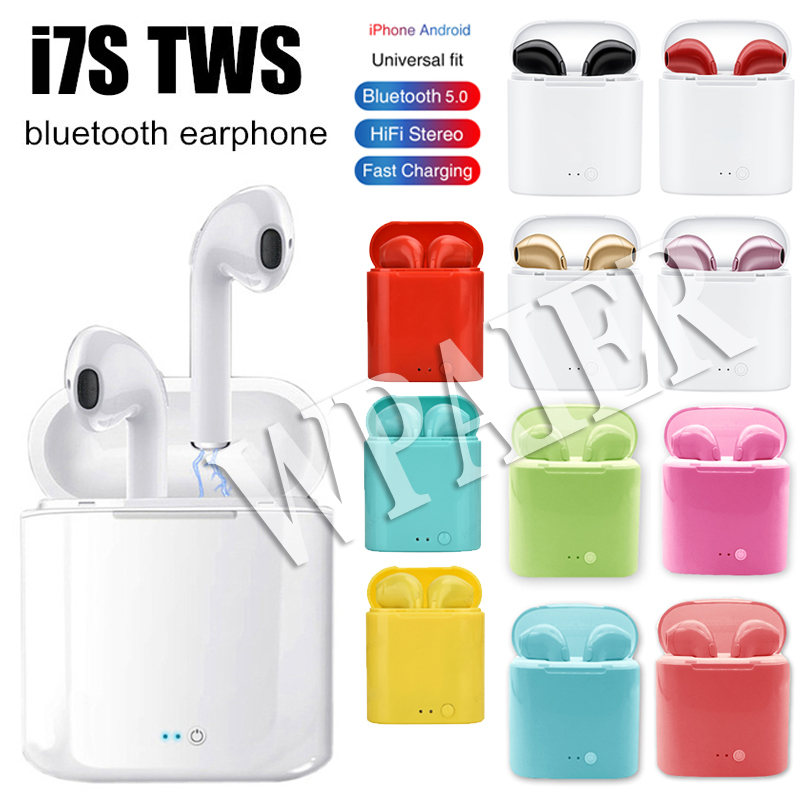 WPAIER I7S TWS Bluetooth Earphones Portable Wireless Mini Earbuds With Charging Box Universal Type Headphones Multiple Color