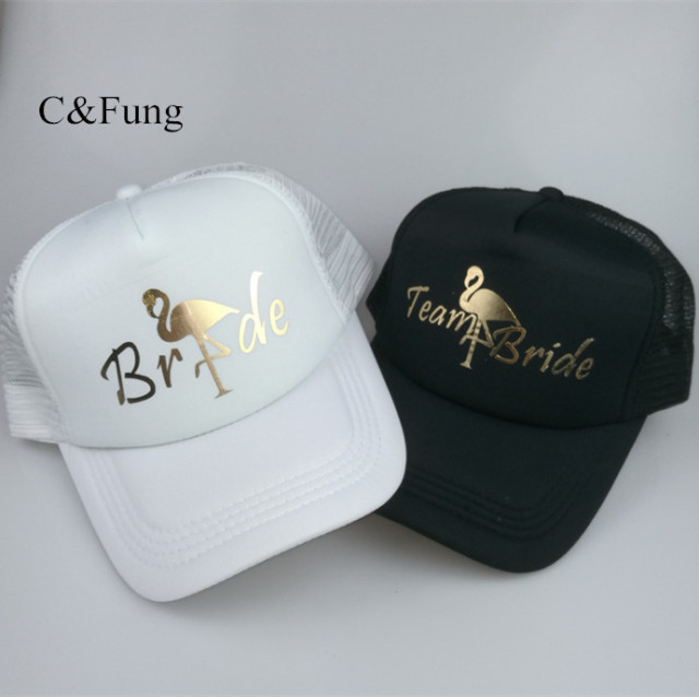C Fung Flamingo design Trucker Hat bride team bride beach weekend Spring  break beach party baseball hats Bachelorette Hats caps 56872be05153
