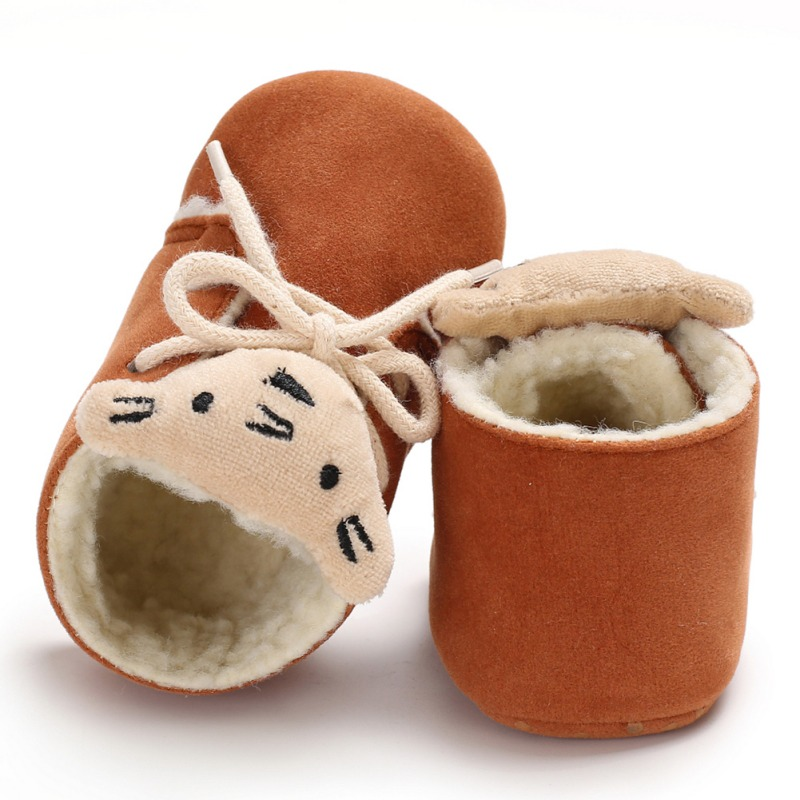 Newborn Baby Lovely Cartoon Tiger Style Super Warm Winter Shoes First Walker Fur Moccasins Shoes Girls Boys Non-slip Toddler