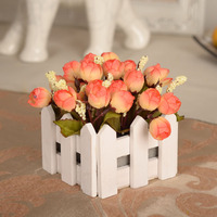 vase/ autumn Rose Set Simulation flower silk flower decoration wooden fence set partition table artificial flowers cheap