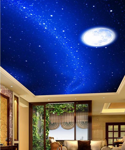 3d Wallpaper Mural Night Clouds Star Sky Wall Paper: Custom Photo Wallpaper Large 3D Stereo Romantic Ceilings