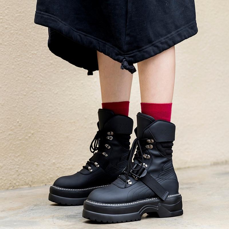Prova Perfetto Fashion Black Chunky Hakken Laarzen Lente Herfst Lace up Platform Schoenen Vrouw Enkellaarsjes Handgemaakte Hoge Hakken laarzen-in Enkellaars van Schoenen op  Groep 3