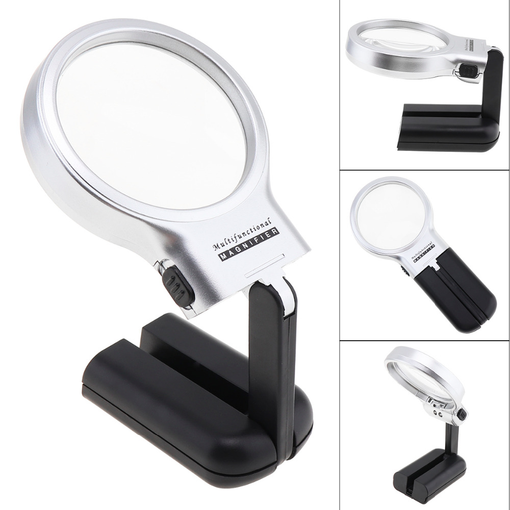"""Silver Ornate Hand Held Desk Magnifying Glass 3x Magnification 3/"""" Lens Magnifier"""