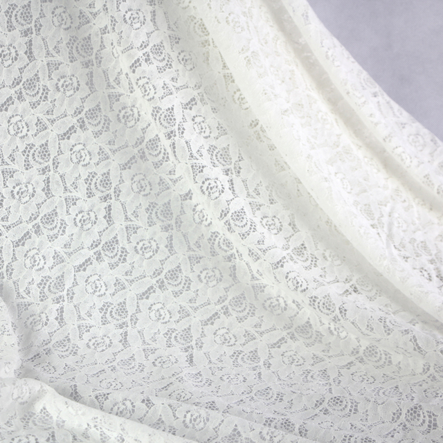 1 Meter Lace Fabric Elastic White Floral Material For Curtains