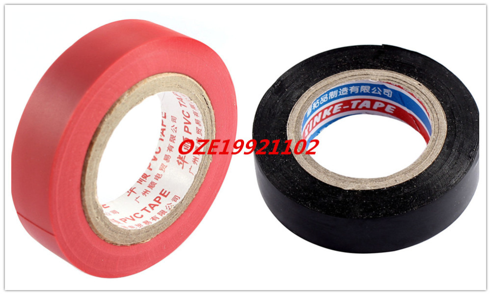 Cable Harness PVC Self Adhesive Insulated Electrical Tape Roll 14mm x 7M Black/Red self adhesive hazard warning pvc tape black yellow 4 5cm x 18m