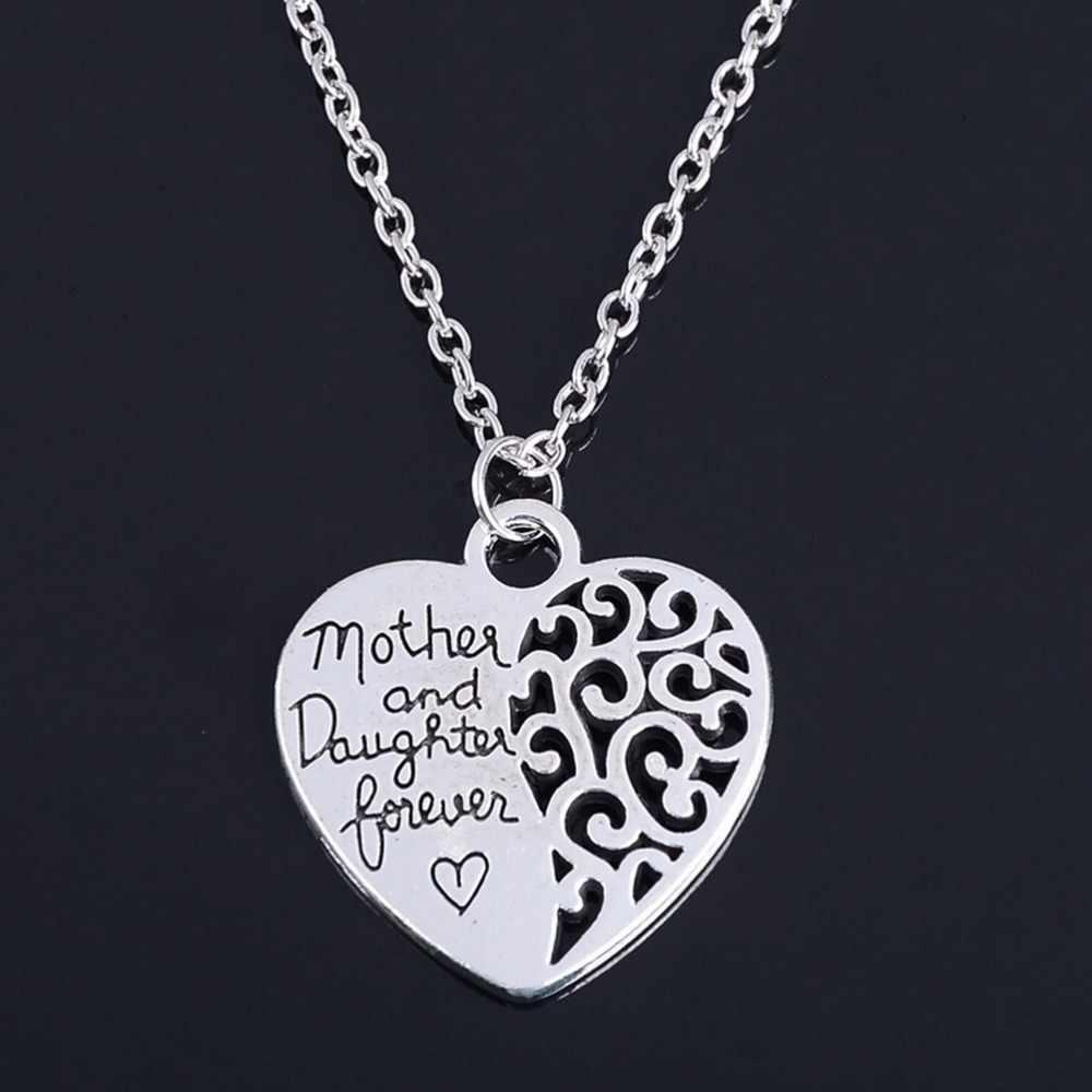JETTINGBUY Prata Banhado A Mãe Filha Colar Pingentes Para Mulheres Meninas Feminino Moda Jóias Amor Do Coração Colares Mãe