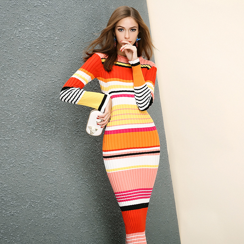 European Womens Long Warm Autumn Winter Dress 2017 Fashion Stripe Spell Color Bodycon Midi Party Womens Knitted Sweater Dress