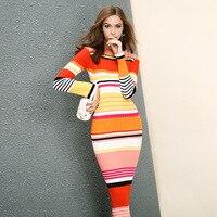 European Women S Long Warm Autumn Winter Dress 2017 Fashion Stripe Spell Color Bodycon Midi Party