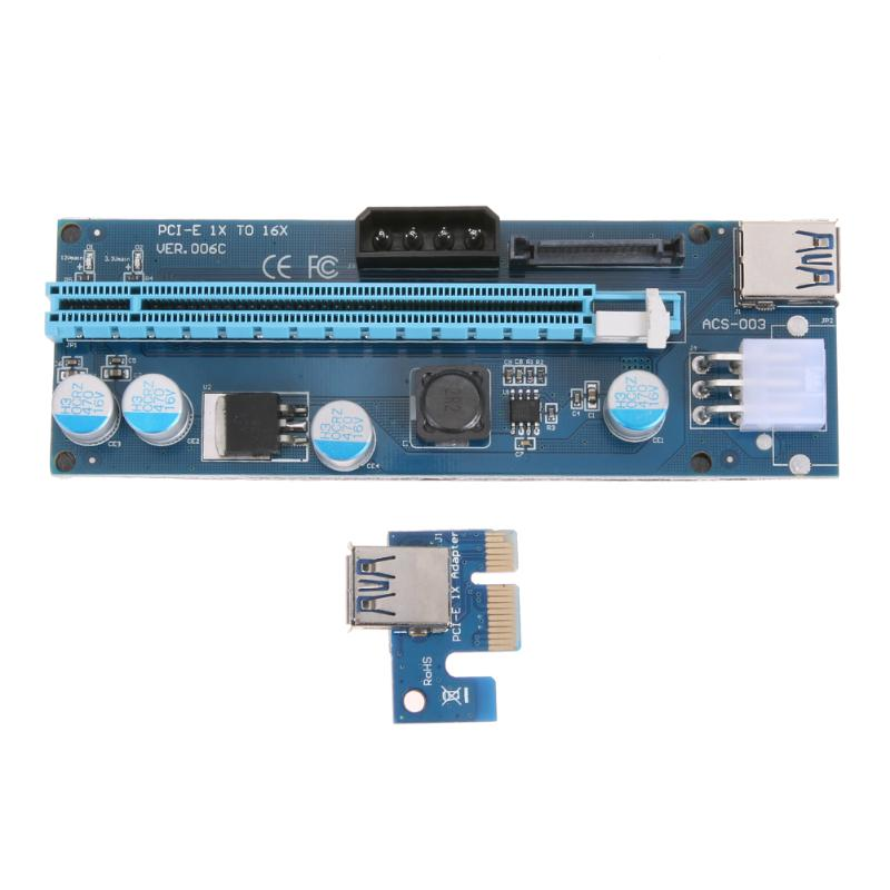 PCIe 1X 4x 8x 16x Extender Riser USB 3.0 PCIE Riser Card Express Adapter SATA molex 15pin to 6pin 8pin Power Cable for Mining new usb3 0 008s pci e riser express 1x 4x 8x 16x extender riser adapter card sata 15pin to 6pin power cable dual power interface