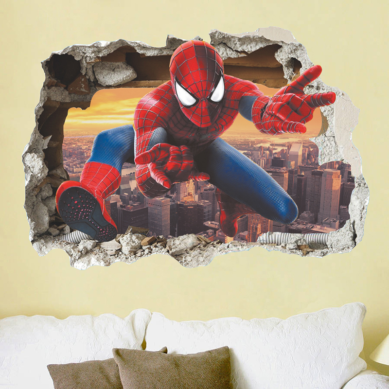 Marvel 3D Hero Spiderman Wall Stickers For Nursery Kids Room Decorations Cartoon Spiderman PVC Broken Wall Decal Poster in Wall Stickers from Home Garden
