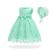 Free Shipping Cute Cotton Lining Infant Dresses 2019 New Design Green Baby Dress For 1 Year Birthday Toddler Party Gown with Hat