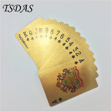 8.8*5.7cm 24k Gold Playing Card USD 100 Dollar Design Waterproof, Plastic Cards Poker Full Poker Deck Gift(China)