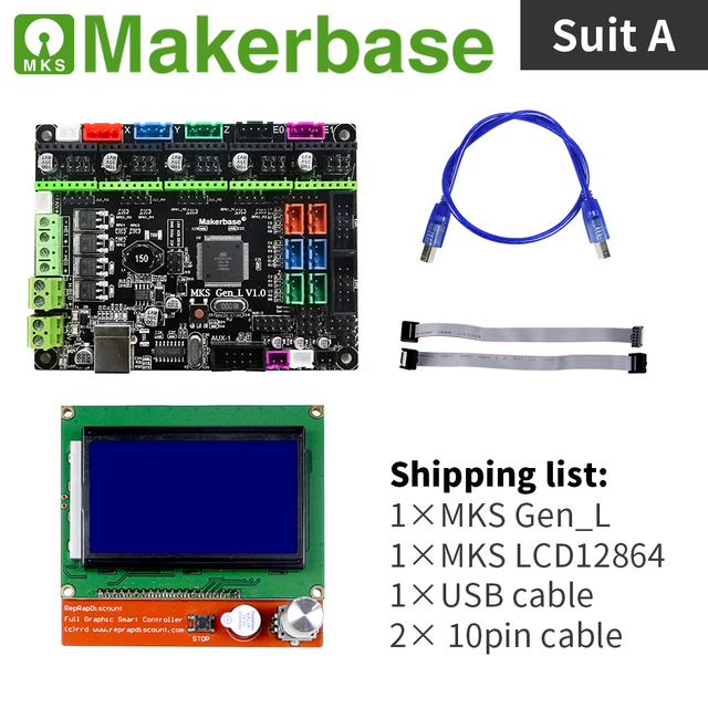US $28 4 |3D printer controller set MKS Gen_L with MKS LCD12864 and  different plug in drivers which is more cost effective-in 3D Printer Parts  &