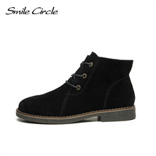 2017 Autumn Shoes Women Winter Ankle Boots Genuine Leather Suede boots Women's Martin boots platform boots botas femininas