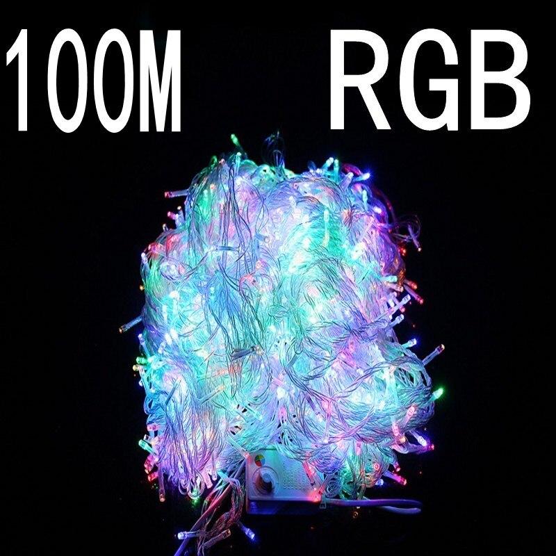 Colore RGB 100 metro 800 LED Luci Di Natale 8 Modalità per la Decorazione Di Festa di Natale Feste di Matrimonio Uso Interno/Esterno