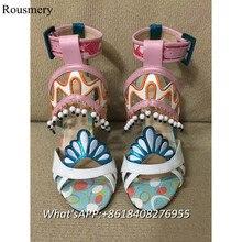 2017 Fashion Women Sandals Peep Toe Super High Heels Shoes Women Soft Leather Women Gladiator Women Buckle Women Mixed Color